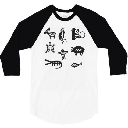 Animals Mayan 3/4 Sleeve Shirt Designed By Anis4