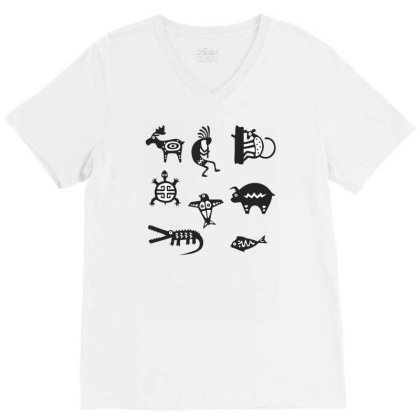Animals Mayan V-neck Tee Designed By Anis4