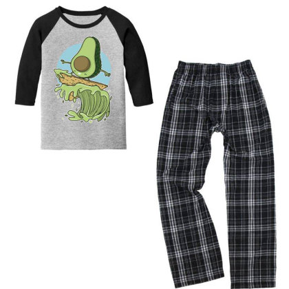 Avocado Surfer Youth 3/4 Sleeve Pajama Set Designed By Anis4