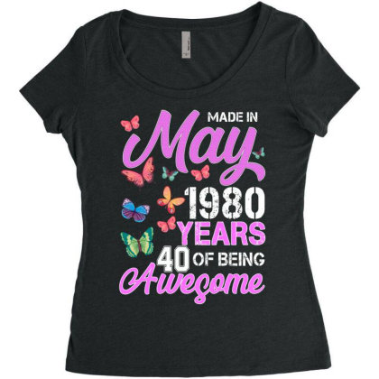Made In May 1980 Years 40 Of Being Awesome For Dark Women's Triblend Scoop T-shirt Designed By Sengul