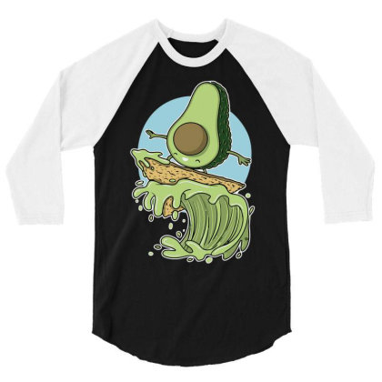 Avocado Surfer 3/4 Sleeve Shirt Designed By Anis4