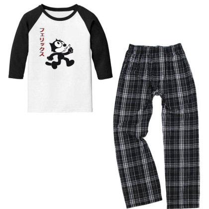 Felix The Cat Aesthetic Japan Youth 3/4 Sleeve Pajama Set Designed By 90stings