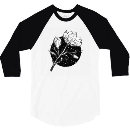 Midnight Magnolias 3/4 Sleeve Shirt Designed By 90stings