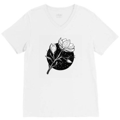Midnight Magnolias V-neck Tee Designed By 90stings