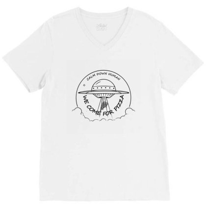 We Come For The Pizza V-neck Tee Designed By 90stings