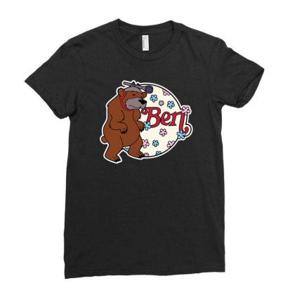 Bear With Microphone Ladies Fitted T-shirt Designed By Anis4