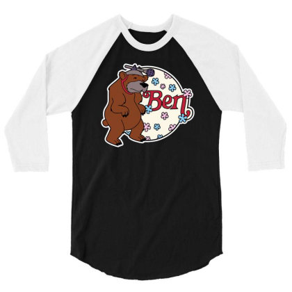 Bear With Microphone 3/4 Sleeve Shirt Designed By Anis4