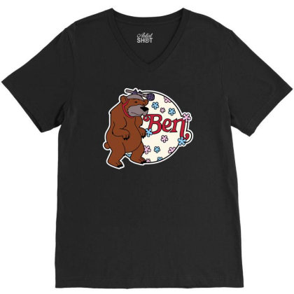 Bear With Microphone V-neck Tee Designed By Anis4