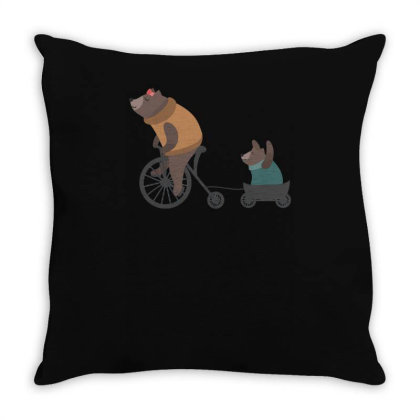 Bearbicycle Throw Pillow Designed By Anis4