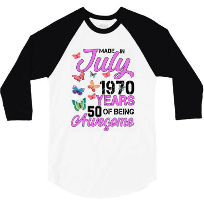 Made In July 1970 Years 50 Of Being Awesome For Light 3/4 Sleeve Shirt Designed By Sengul