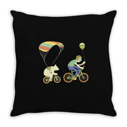 Bearcycle Throw Pillow Designed By Anis4