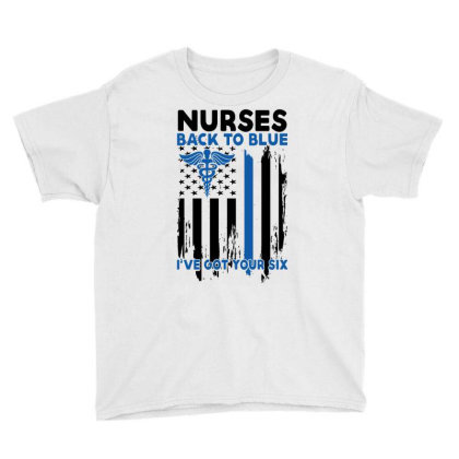 Nurses Back To Blue I've Got Your Six For Light Youth Tee Designed By Gurkan