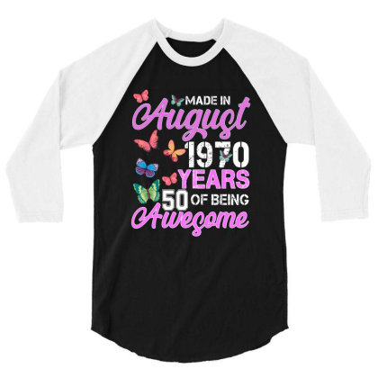 Made In August 1970 Ears 50 Of Being Awesome For Dark 3/4 Sleeve Shirt Designed By Sengul