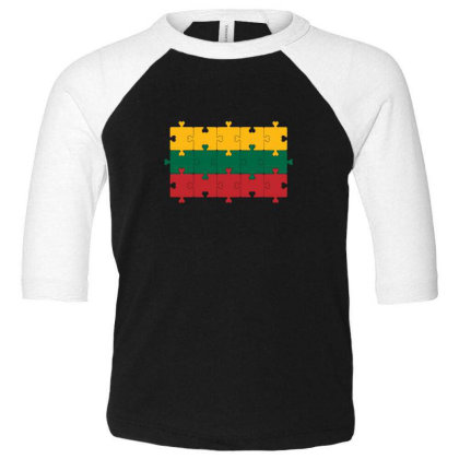 Flag Of Lithuania Toddler 3/4 Sleeve Tee Designed By Alamy