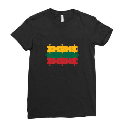 Flag Of Lithuania Ladies Fitted T-shirt Designed By Alamy
