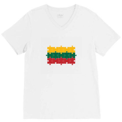 Flag Of Lithuania V-neck Tee Designed By Alamy