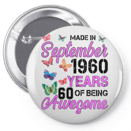 Made In September 1960 Years 60 Of Being Awesome For Light Pin-back Button Designed By Sengul