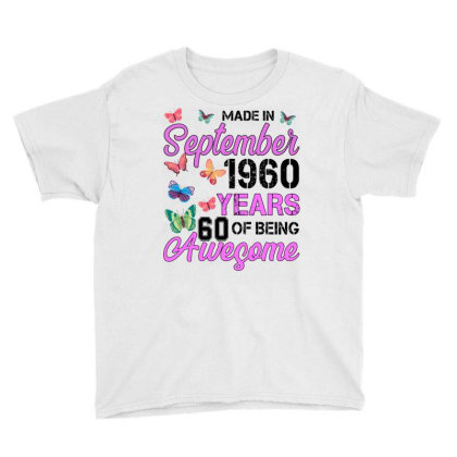 Made In September 1960 Years 60 Of Being Awesome For Light Youth Tee Designed By Sengul