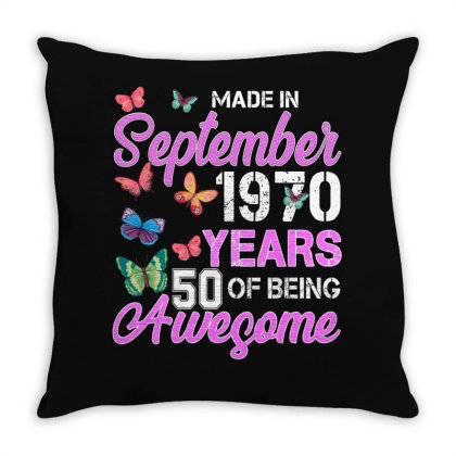 Made In September 1970 Years 50 Of Being Awesome For Dark Throw Pillow Designed By Sengul