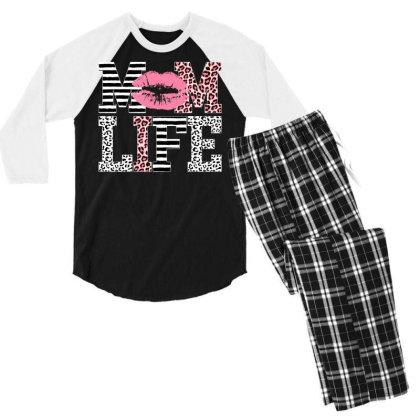 Mom Life Lip Men's 3/4 Sleeve Pajama Set Designed By Badaudesign