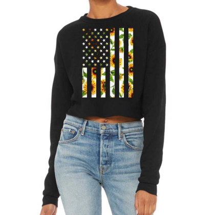 Sunflower American Flag Cropped Sweater Designed By Badaudesign