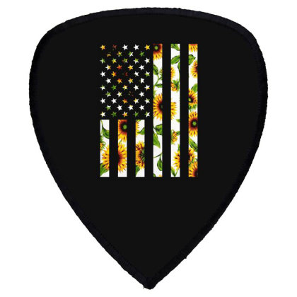 Sunflower American Flag Shield S Patch Designed By Badaudesign