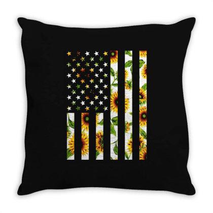 Sunflower American Flag Throw Pillow Designed By Badaudesign
