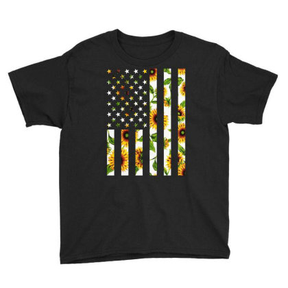 Sunflower American Flag Youth Tee Designed By Badaudesign