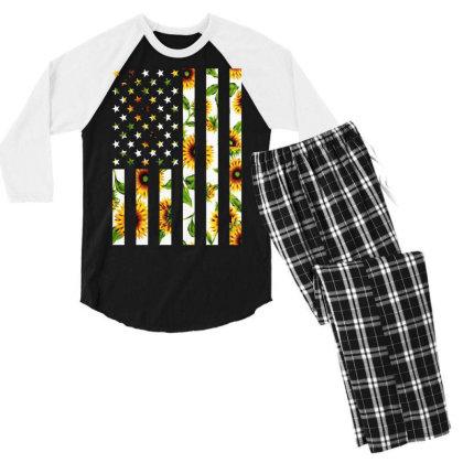 Sunflower American Flag Men's 3/4 Sleeve Pajama Set Designed By Badaudesign