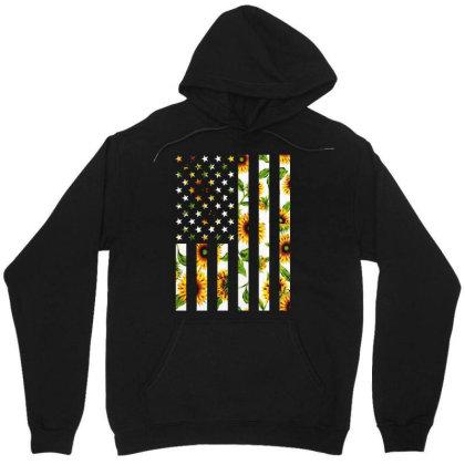 Sunflower American Flag Unisex Hoodie Designed By Badaudesign
