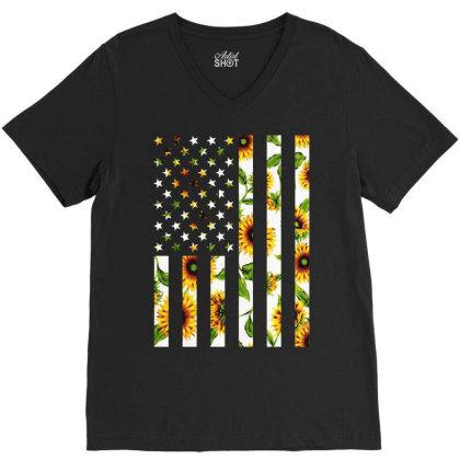 Sunflower American Flag V-neck Tee Designed By Badaudesign