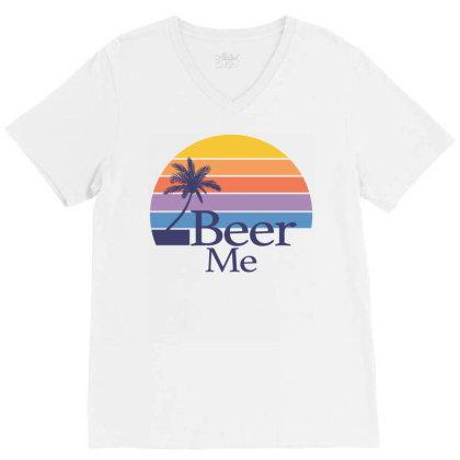 Beer Me Sunset V-neck Tee Designed By Badaudesign