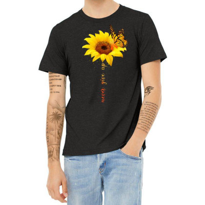 Never Give Up Heather T-shirt Designed By Badaudesign