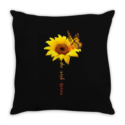 Never Give Up Throw Pillow Designed By Badaudesign