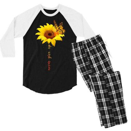 Never Give Up Men's 3/4 Sleeve Pajama Set Designed By Badaudesign