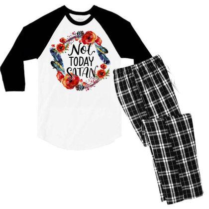 Not Today Satan Men's 3/4 Sleeve Pajama Set Designed By Badaudesign