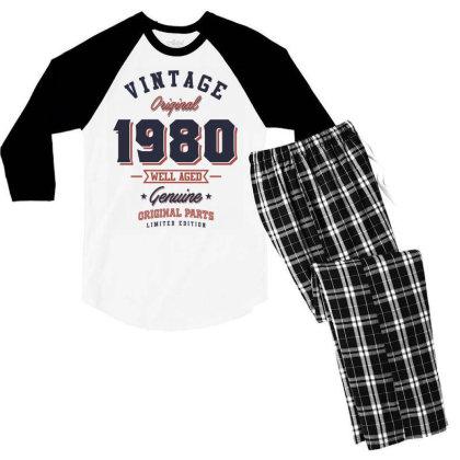 Since 1980 Tshirt Men's 3/4 Sleeve Pajama Set Designed By Cidolopez