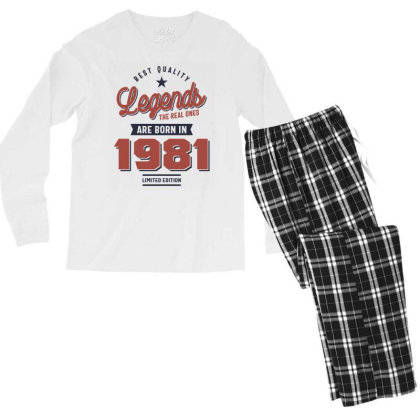 Best Quality Legends The Real Ones Are Born In 1981 Men's Long Sleeve Pajama Set Designed By Cidolopez