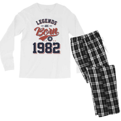 Legends Are Born In 1982 Birthday Gift Men's Long Sleeve Pajama Set Designed By Cidolopez