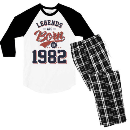 Legends Are Born In 1982 Birthday Gift Men's 3/4 Sleeve Pajama Set Designed By Cidolopez