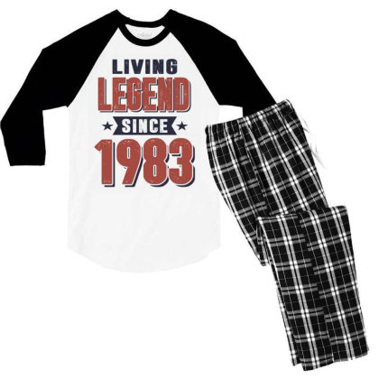 Living Legend Since 1983 Birthday Gift Men's 3/4 Sleeve Pajama Set Designed By Cidolopez