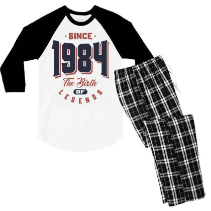 Since 1984 The Birth Of Legends Birthday Gift Men's 3/4 Sleeve Pajama Set Designed By Cidolopez