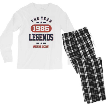 The Year 1986 Legends Where Born Birthday Gift Men's Long Sleeve Pajama Set Designed By Cidolopez