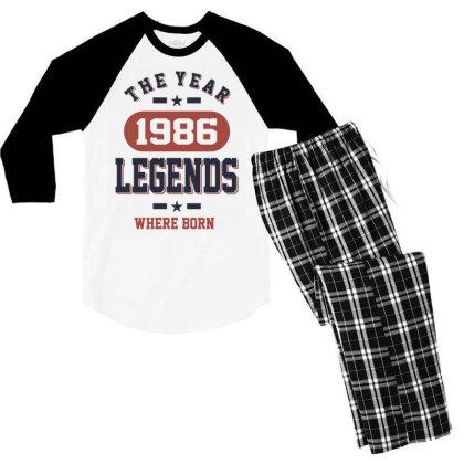 The Year 1986 Legends Where Born Birthday Gift Men's 3/4 Sleeve Pajama Set Designed By Cidolopez
