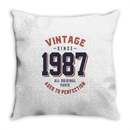 Vintage Since 1987 Birthday Gift Throw Pillow Designed By Cidolopez