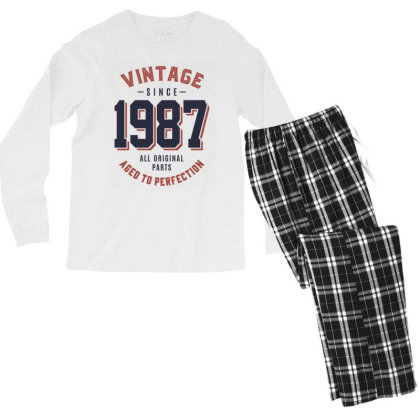 Vintage Since 1987 Birthday Gift Men's Long Sleeve Pajama Set Designed By Cidolopez