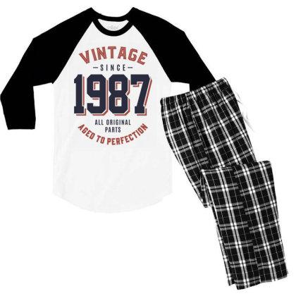 Vintage Since 1987 Birthday Gift Men's 3/4 Sleeve Pajama Set Designed By Cidolopez