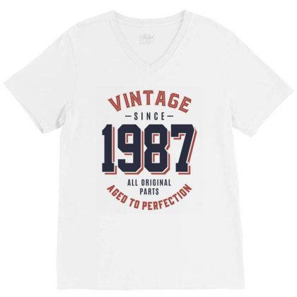 Vintage Since 1987 Birthday Gift V-neck Tee Designed By Cidolopez