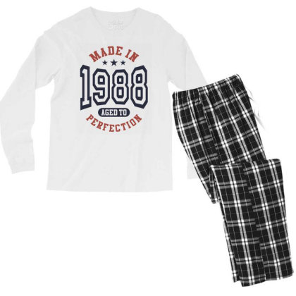 Made In 1988 Aged To Perfection Birthday Gift Men's Long Sleeve Pajama Set Designed By Cidolopez