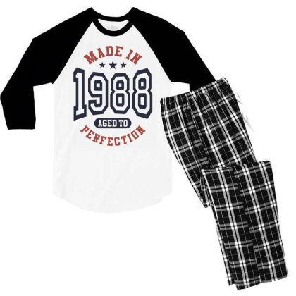 Made In 1988 Aged To Perfection Birthday Gift Men's 3/4 Sleeve Pajama Set Designed By Cidolopez